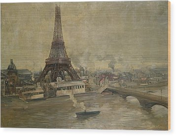 The Construction Of The Eiffel Tower Wood Print