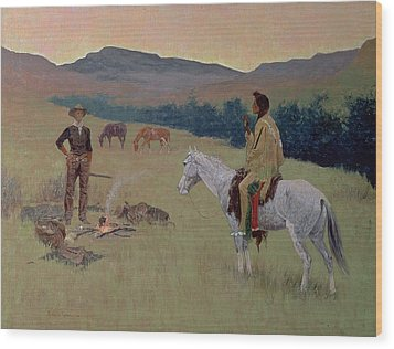 The Conversation Wood Print by Frederic Remington