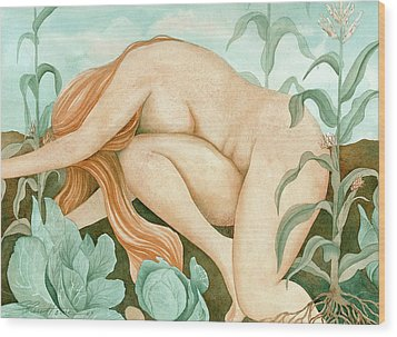 The Corn Maiden Wood Print by Sheri Howe