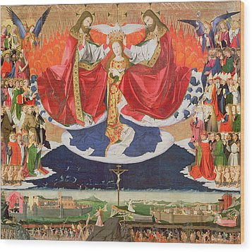 The Coronation Of The Virgin Wood Print by Enguerrand Quarton