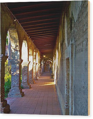 The Corridor By The Serra Chapel San Juan Capistrano Mission California Wood Print by Karon Melillo DeVega