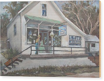 Wood Print featuring the painting The Country Store by Tony Caviston