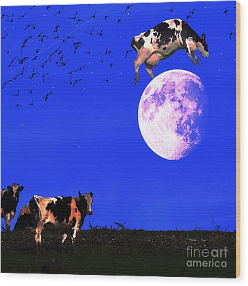 The Cow Jumped Over The Moon . Square Wood Print by Wingsdomain Art and Photography