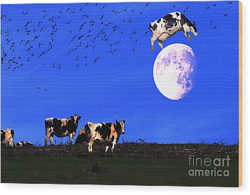 The Cow Jumped Over The Moon Wood Print by Wingsdomain Art and Photography