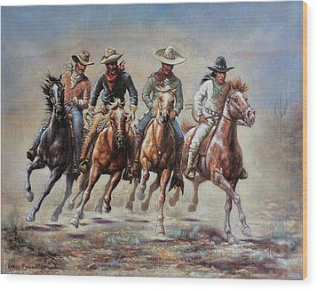 Wood Print featuring the painting The Cowboys by Harvie Brown