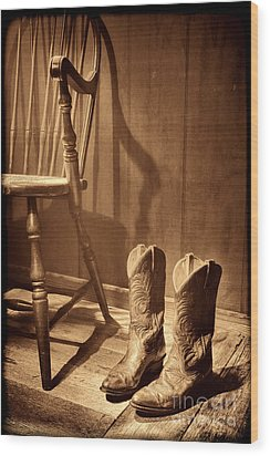 The Cowgirl Boots And The Old Chair Wood Print by American West Legend By Olivier Le Queinec