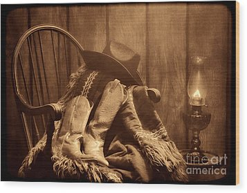 The Cowgirl Rest Wood Print by American West Legend By Olivier Le Queinec