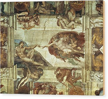 The Creation Of Adam Wood Print by Michelangelo