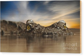 Wood Print featuring the photograph The Crocodile by Christine Sponchia