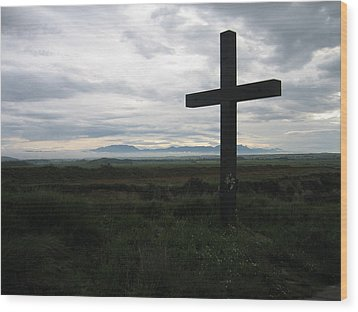 The Cross Wood Print by Oliver Johnston