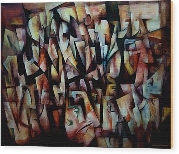 Wood Print featuring the painting The Crowds by Kim Gauge