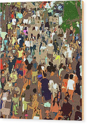Wood Print featuring the painting The Crowd by David Lee Thompson