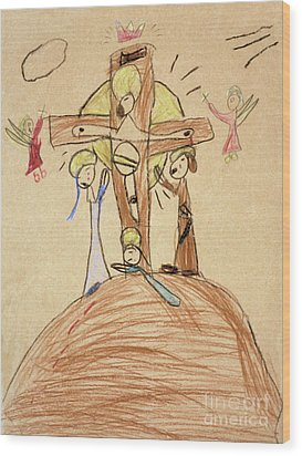 Wood Print featuring the drawing The Crucifixion By Fr. Bill At Age 5 by William Hart McNichols