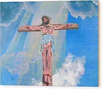 The Crucifixion Daytime Wood Print by Stan Hamilton