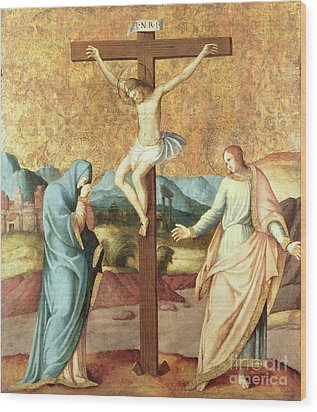 The Crucifixion With The Virgin And St John The Evangelist Wood Print by French School