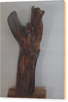 Wood Print featuring the sculpture The Cry Of Angels by Esther Newman-Cohen