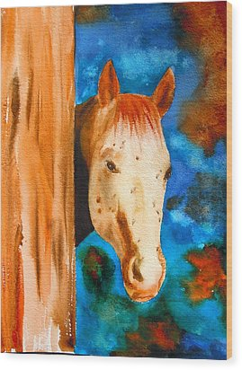 The Curious Appaloosa Wood Print by Sharon Mick