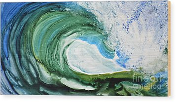 Wood Print featuring the painting The Curl by Joan Hartenstein
