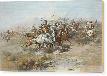 The Custer Fight Wood Print by Charles Russell