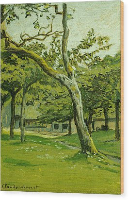 The Customs Hut In The Morning Wood Print by Claude Monet