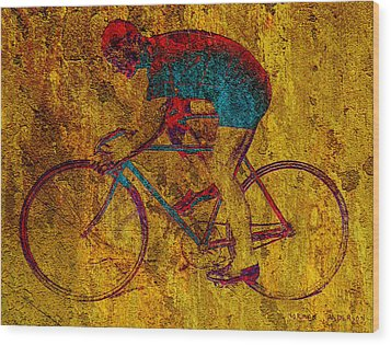 The Cyclist Wood Print by Andrew Fare