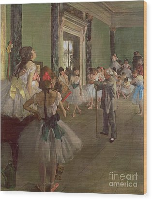 The Dancing Class Wood Print by Edgar Degas
