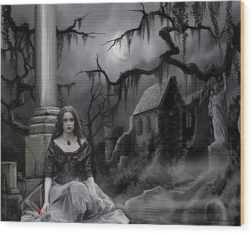 Wood Print featuring the painting The Dark Caster Awaits by James Christopher Hill