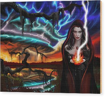Wood Print featuring the painting The Dark Caster Calls The Storm by James Christopher Hill