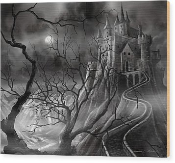 The Dark Castle Wood Print by James Christopher Hill