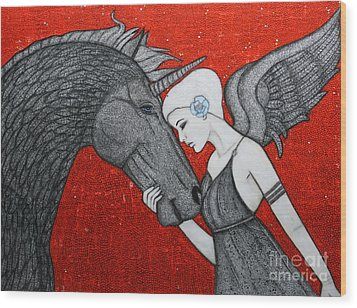 The Dark Unicorn Wood Print by Natalie Briney