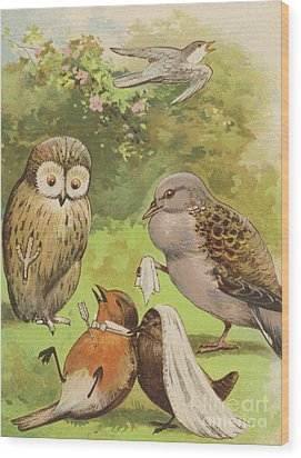 The Death Of Cock Robin Wood Print by English School