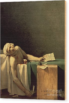 The Death Of Marat Wood Print by Jacques Louis David