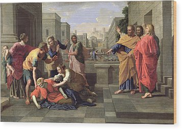 The Death Of Sapphira Wood Print by Nicolas Poussin