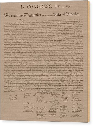 The Declaration Of Independence Wood Print