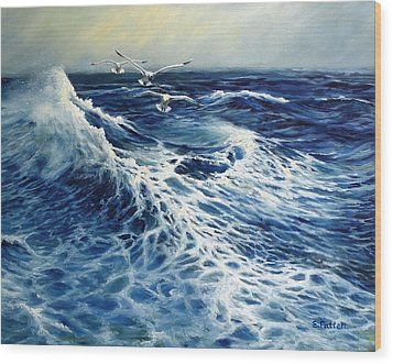 The Deep Blue Sea Wood Print by Eileen Patten Oliver