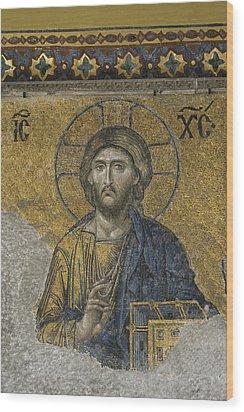 The Dees Mosaic In Hagia Sophia Wood Print by Ayhan Altun