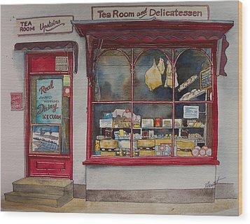 The Deli Tea Room Wood Print by Victoria Heryet