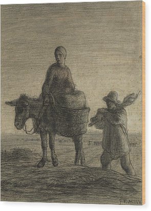 The Departure For Work Wood Print by Jean-Francois Millet