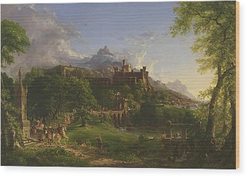 The Departure Wood Print by Thomas Cole