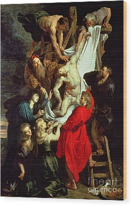 The Descent From The Cross Wood Print by Peter Paul Rubens