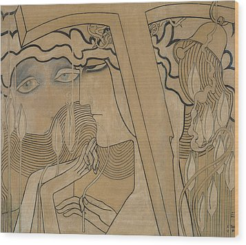 The Desire And The Satisfaction Wood Print by Jan Theodore Toorop
