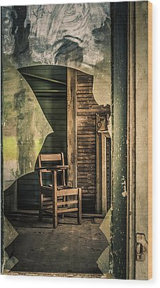 The Desk Wood Print by Phillip Burrow
