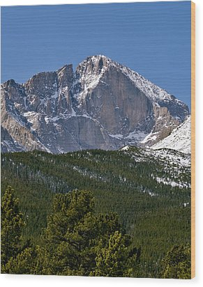 The Diamond On Longs Peak In Rocky Mountain National Park Colorado Wood Print by Brendan Reals