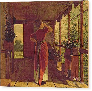 The Dinner Horn Wood Print by Winslow Homer