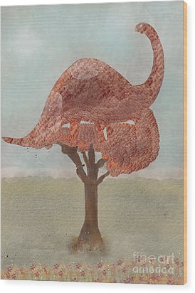 Wood Print featuring the painting The Dinosaur Tree by Bri B