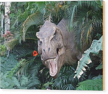The Dinosaurs Lunch Wood Print by Rana Adamchick