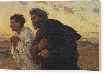 The Disciples Peter And John Running To The Sepulchre On The Morning Of The Resurrection Wood Print by Eugene Burnand