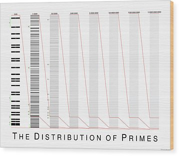 The Distribution Of Primes Wood Print by Martin Weissman