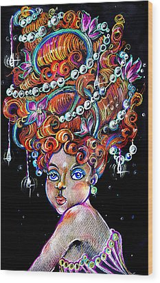Wood Print featuring the drawing The Diva by Nada Meeks