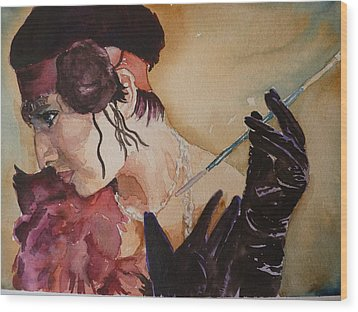 Wood Print featuring the painting The Diva by P Maure Bausch